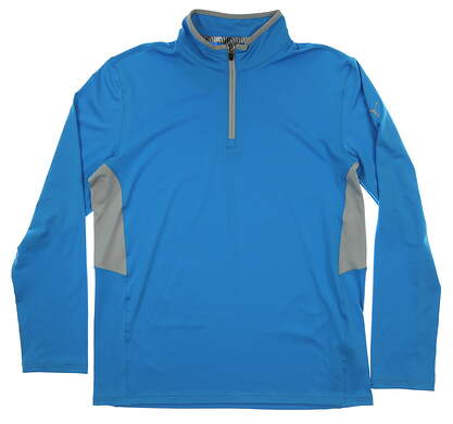 New Mens Puma Proven 1/4 Zip Pullover Medium M Bleu Azur MSRP $65 577900 05