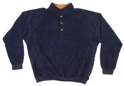 New Mens Straight Down 1/4 Button Sweater X-Large XL Navy Blue 60118 MSRP $114