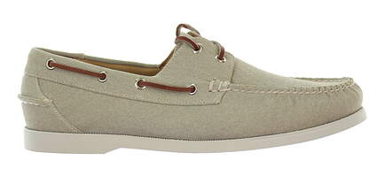 New Mens Shoe Peter Millar Seaside Washed Canvas Boat Shoe 10 Almond MSRP $300