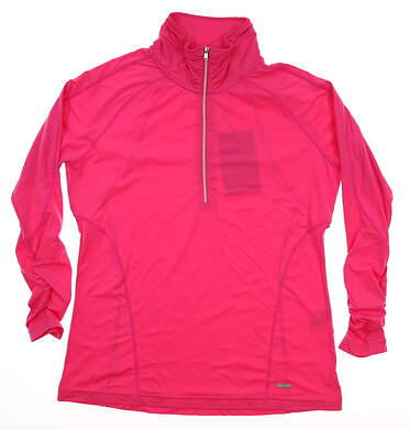 New Womens SUNICE Golf 1/2 Zip Pullover Large L Pink MSRP $85 SI672NT