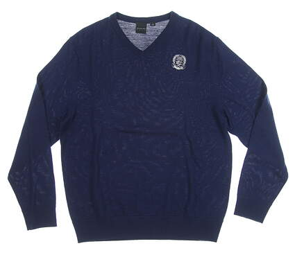 New W/ Logo Mens Dunning Golf Sweater Large L Navy Blue MSRP $99