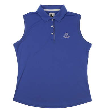 New W/ Logo Womens Footjoy Sleeveless Golf Polo Large L Blue MSRP $70 27445