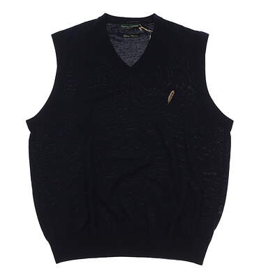 New W/ Logo Mens Fairway & Greene Merino Classic Sweater Vest Small S Navy MSRP $120
