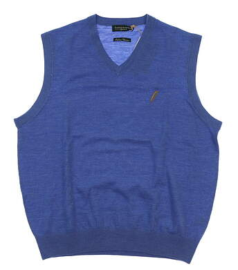 New W/ Logo Mens Fairway & Greene Merino Classic Sweater Vest Small S Blue MSRP $120