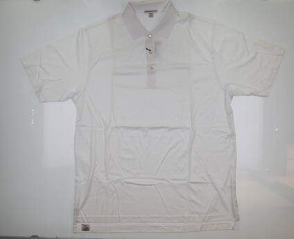 New W/ Logo Mens Peter Millar Golf Polo X-Large XL White MC0K01 MSRP $94