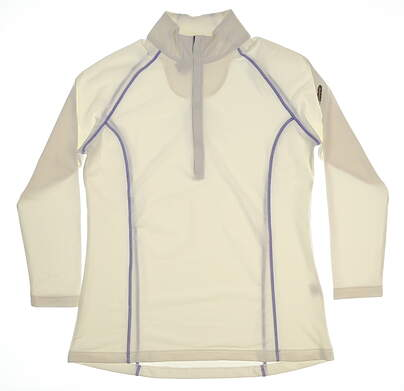 New W/ Logo Womens Peter Millar 1/2 Zip Pullover X-Large XL White MSRP $120 LF17EK18CST