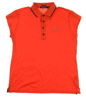 New W/ Logo Womens Ralph Lauren Golf Polo Large L Orange MSRP $100