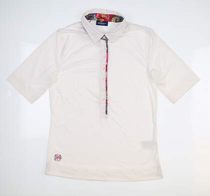 New Womens Daily Sports 3/4 Sleeve Golf Polo Medium M White 443/141 MSRP $79.99