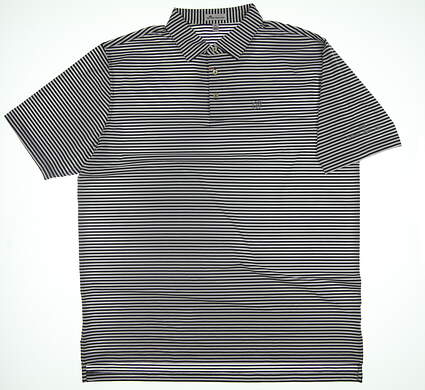 New W/ Logo Mens Peter Millar Polo X-Large XL Iron Gray/White ME0EK02S MSRP $88.99