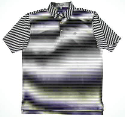 New W/ Logo Peter Millar Golf Polo Gray/White Large L MSRP $89