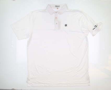 New W/ Logo Mens Peter Millar Golf Polo Large L White ME0EK01S MSRP $89