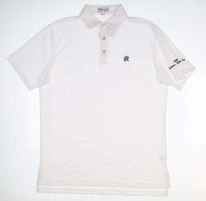 New W/ Logo Mens Peter Millar Golf Polo Medium M White ME0EK01S MSRP $88.99