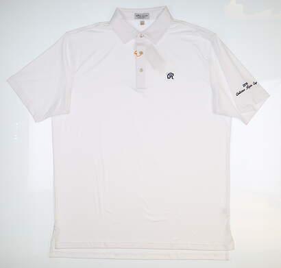 New W/ Logo Mens Peter Millar Polo Large L White ME0EK01S MSRP $88.99