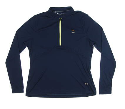 New W/ Logo Womens Under Armour 1/2 Zip Pullover X-Large XL Navy Blue MSRP $82