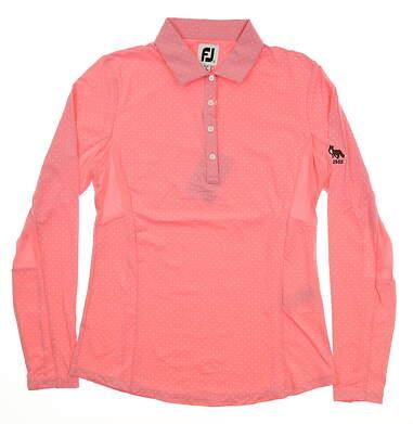 New W/ Logo Womens Footjoy Dot Print Long Sleeve Polo Small S Pink MSRP $80 27548
