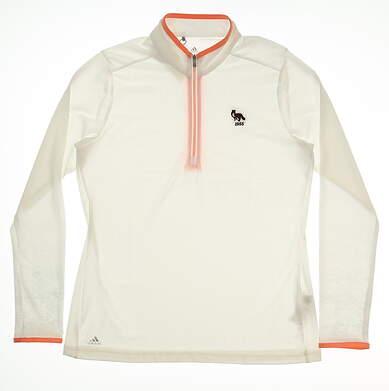 New W/ Logo Womens Adidas 1/4 Zip Pullover Medium M White MSRP $80