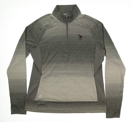 New W/ Logo Womens Adidas 1/2 Zip Pullover Large L Gray MSRP $80