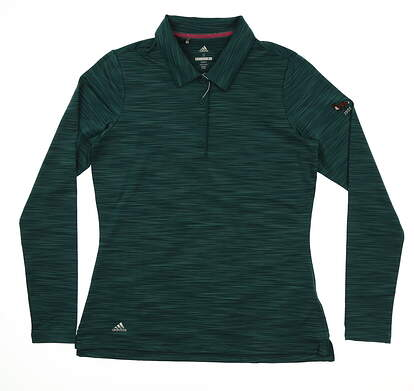 New W/ Logo Womens Adidas Ultimate Long Sleeve Polo Small S Green MSRP $65 DT3354