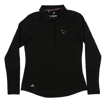 New W/ Logo Womens Adidas Climaheat Long Sleeve Polo Small S Black MSRP $70 CW6744