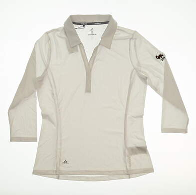 New W/ Logo Womens Adidas Rangewear 3/4 Sleeve Polo Medium M White MSRP $65 CY1423