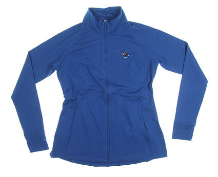 New W/ Logo Womens Under Armour Full Zip Mock Neck Large L Blue MSRP $82