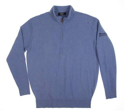 New W/ Logo Mens Straight Down 1/4 Zip Sweater Medium M Blue 60409 MSRP $136