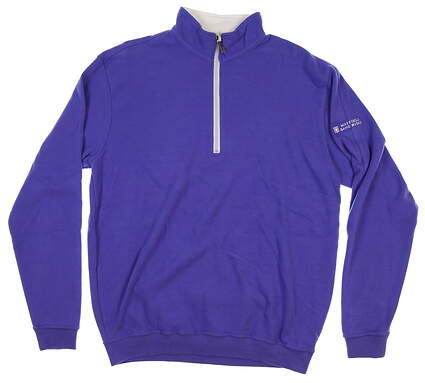 New W/ Logo Mens Straight Down 1/4 Zip Sweater Medium M Purple MSRP $108