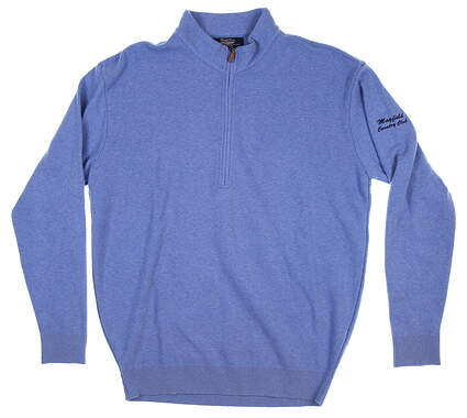 New W/ Logo Mens Straight Down 1/4 Zip Golf Sweater Large L Blue MSRP $136