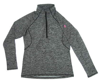 New W/ Logo Womens Under Armour 1/2 Zip Pullover Large L Black MSRP $75