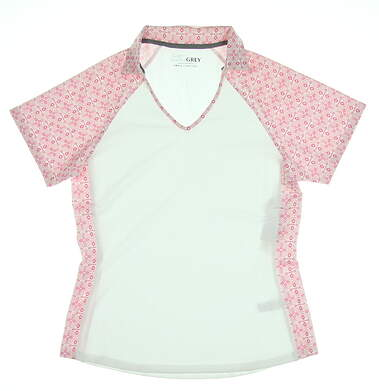 New Womens Heather Grey GolfPolo Small S Pink MSRP $70