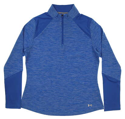 New Womens Under Armour 1/4 Zip Pullover Large L Blue MSRP $99 UW1213