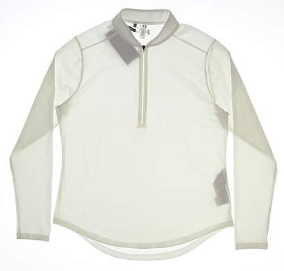 New Womens Under Armour 1/4 Zip Pullover Large L White MSRP $70 UW1229