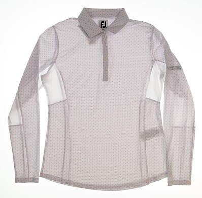 New W/ Logo Womens Footjoy Dot Print Long Sleeve Polo Medium M White MSRP $95 27547