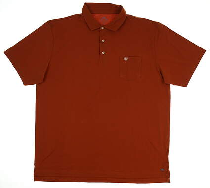 New W/ Logo Mens Peter Millar Mountainside Collection Polo X-Large XL Rust MSRP $89 MF16K70