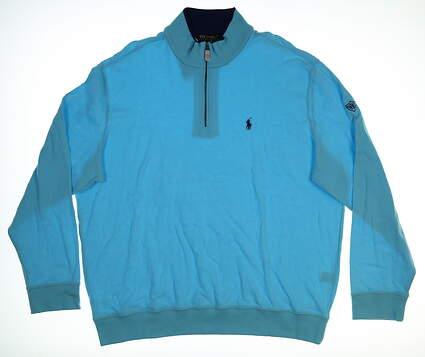 New W/ Logo Mens Ralph Lauren 1/4 Zip Pullover XX-Large XXL Blue MSRP $99