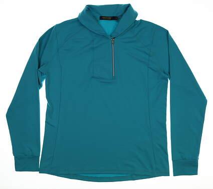 New Womens Ralph Lauren 1/4 Zip Pullover Large L Blue MSRP $99