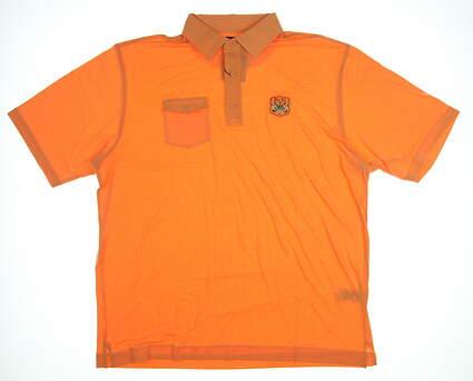 New W/ Logo Mens Footjoy Spun Poly Chest Pocket Polo X-Large XL Orange MSRP $76 25554