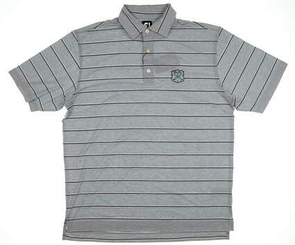 New Mens Footjoy Stripe Golf Polo Large L Gray MSRP $75 25514