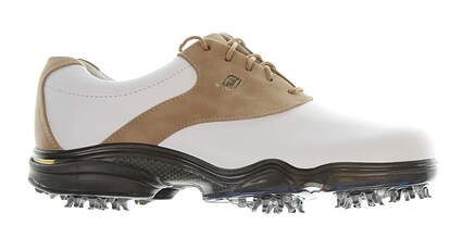 New Womens Golf Shoe Footjoy Dryjoys Medium 7 White/Light-Brown MSRP $160