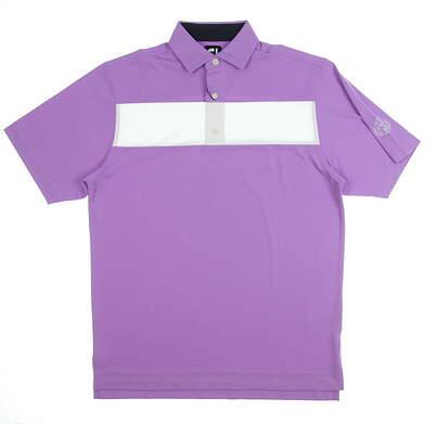 New W/ Logo Mens Footjoy Pieced Stripe Polo Medium M Purple MSRP $90 25549