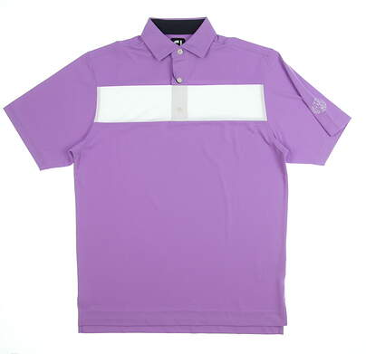 New W/ Logo Mens Footjoy Pieced Stripe Polo Small S Lavender/ White MSRP $90 25549