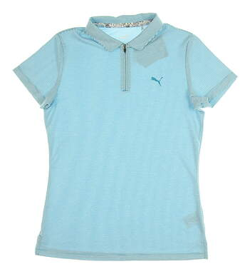 New Womens Puma Soft Stripe Polo Small S Caribbean Sea MSRP $65 577921 01