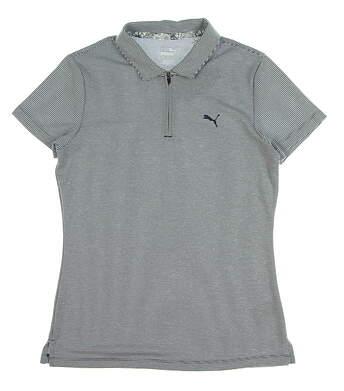 New Womens Puma Soft Stripe Polo Small S Peacoat MSRP $65 577921 03