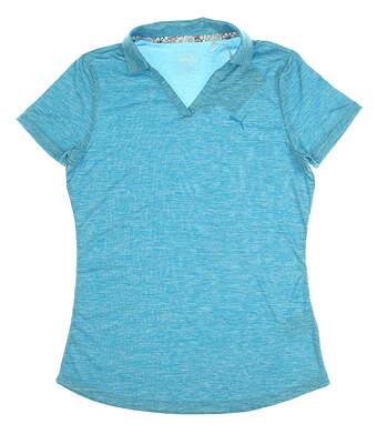 New Womens Puma Softest Polo Small S Caribbean Sea Heather MSRP $60 577926 01