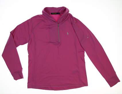 New W/ Logo Womens Ralph Lauren 1/4 Zip Pullover Large L Purple MSRP $125