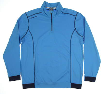 New Mens Puma PWRWARM 1/4 Zip Pullover Medium M Bleu Azur MSRP $75 577905 04