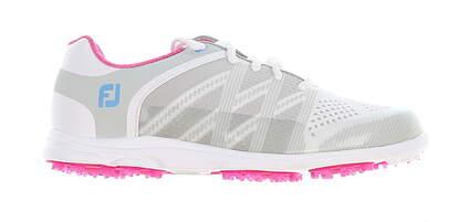 New Womens Golf Shoe Footjoy FJ Sport SL Medium 7 White/Grey/Pink MSRP $140