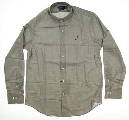 New Mens Ralph Lauren Button Up Medium M Gray MSRP $148