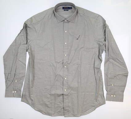 New W/ Logo Mens Ralph Lauren Button Up X-Large XL Gray MSRP $148