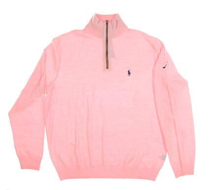 New W/ Logo Mens Ralph Lauren 1/4 Zip Sweater Large L Pink MSRP $185